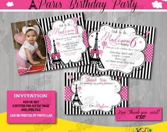 Paris Birthday invitation, Paris Birthday invite, printable Paris Party Invitation, Parisian Birthday Invitation, Paris First Birthday Party