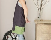 Linen Pinafore apron in plum and green, Cross back, Natural linen, Eco friendly