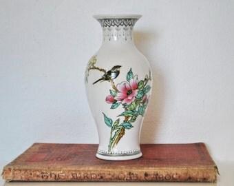 Vintage/Antique Chinese Republic Jingdeszhen Porcelain Famille Rose Bird on Branch Vase with Poem