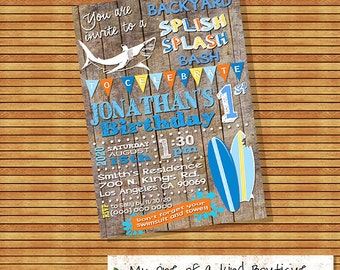 Splish splash backyard bash birthday party invitation shark surf invite summer pool surfer digital printable invitation you print 13573