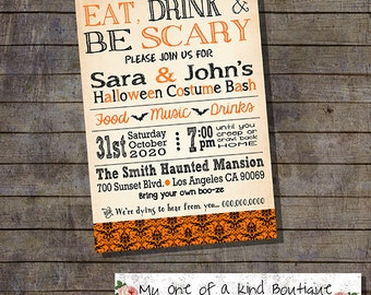 Eat drink and be scary halloween party bash invitation annual costume bash vintage invite digital printable invitation you print 13670