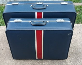1960s Invicta Vintage Luggage Set, Blue with Red and White Stripe