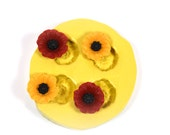 0209 4 poppy flower cabochons Silicone Rubber Flexible food Safe Mold Mould-resin, clay, fondant, chocolate, candy, ceramic, cupcakes,topper