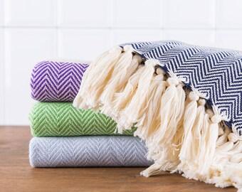 Herringbone Towel, Bath Towel, Turkish Towel, Peshtemal, Hammam Towel, Navy, Purple, Green, Sky Blue