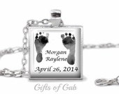 Custom Necklace for New Moms - Baby Footprints  for New Mother Necklace, New Dad, Grandma, Grandparent, Godmother, Godparent Jewelry