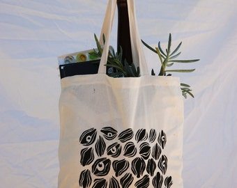 "Canvas Tote Bag with Original ""Whispers"" Screen Print Design"