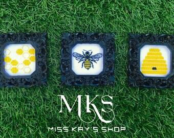 Honey Bee - Bee Hive - Honey Comb - Cross Stitch Pattern Set - Instant Download