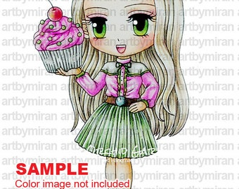 Digital Stamp - Babycakes, Digi Stamp, Coloring page, Printable Line art for Card and Craft Supply