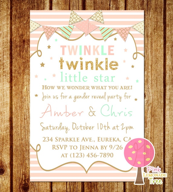twinkle twinkle little star gender reveal invitation peach, Baby shower invitations
