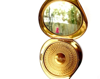 1940's Brass Pocket Mirror || Elgin of America || Etched Ladies Compact