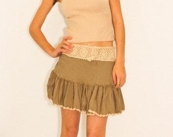 New Romantics Boho Crocheted Skirt in Leaf Green