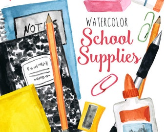 Watercolor School Supplies Clip Art, Back to School Clipart, Educational Illustrations, High School Clip Art, Clipart for Teachers, Teaching