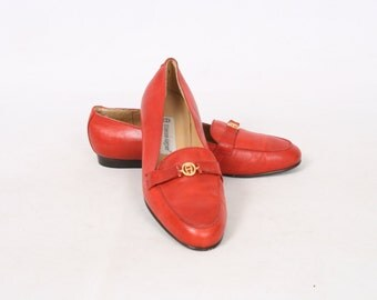 Etienne Aigner Womens 6.5 US 7 M Red Leather Slip On Penny Loafers Vintage Shoes