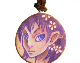 Renewal Fairy - illustrated wooden pendant necklace