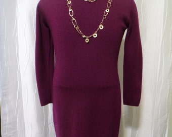 Knit Dress, Sweater Dress, Wine-colored Dress, (Women's Small?), Great Condition