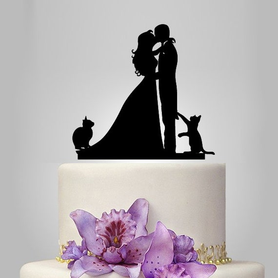 wedding cake toppers cats uk wedding cake topper birde and groom silhouette with by 26435