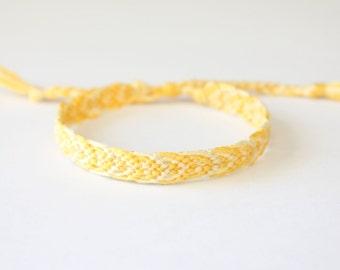 SALE! Yellow Adjustable Friendship Bracelet, Leaf Pattern woven bracelet