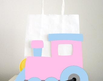 Train Goody Bags, Train Favor Bags, Train Party Bags, Train Gift Bags, Girl Train, Pink Train