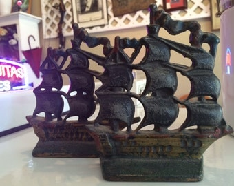 Vintage Pair of Nautical Cast Iron Ship Bookends - Not Reproduction
