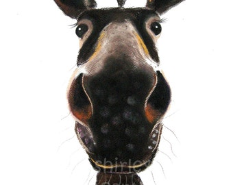 Cheeky/Cute Print in 3 SIZES of Original Watercolour Art Happy Donkey Painting ' DEIRDRE DONKEY ' by Shirley MacArthur