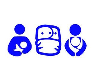 Crunchy Mama Decal, Baby Wearing Decal, Cloth Diaper Decal, Window Decal, Breastfeeding Mom Vinyl, Breastfeeding Decal, Crunchy Mama Sticker