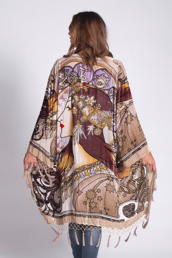 Velvet Beaded Fringe Kimono | Champagne Zodiac Gypsy
