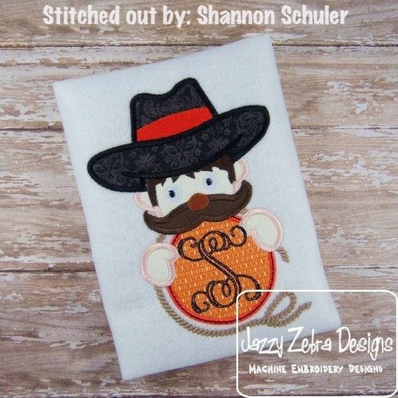 Cowboy Monogram Applique embroidery Design - cowboy applique design - mascot applique design - western appliqué design - school appliqué