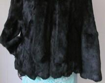 Luxurious Rare Scallop Black Rabbit Fur Coat Attached Rabbit Fur Scarf Black Rabbit Jacket  Scalloped Hem Line Sassy Stylish Exotic Subtle