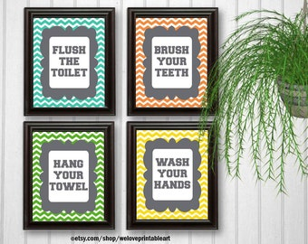 Chevron Bathroom Rules, Kids Bathroom Decor, Printable Art, Kids Bathroom Art, Quote Prints, Bathroom Wall Art, Quote Poster, Bathroom Sign