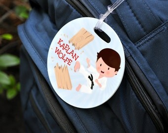 Karate Bag Tag, Personalized Martial Arts Bag Tag, Karate Luggage Tag, Gifts for Karate, Sports Bag, Custom Bag Tag, Personalized Gift 127BT