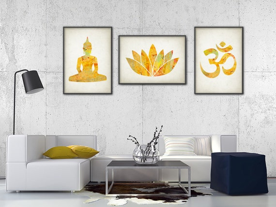 yoga gold watercolor wall art print set of 3 by quantumprints. Black Bedroom Furniture Sets. Home Design Ideas