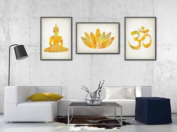 Wall Decor Set Of Three : Yoga gold watercolor wall art print set of by quantumprints