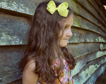yellow hair bow, boutique bow,  hair clip, large bow