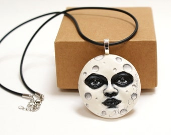 White full moon pendant, hand painted cast sculpture realized as an elegant black and white necklace! Unique gift idea for moon lovers!