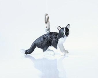 """Key chain """"Black-white cat"""""""