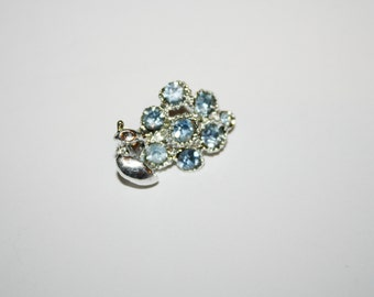 Vintage Silver Tone Aquamarine Flower Brooch / Pin 1 inches | Ships FREE in US