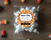 Halloween Stickers Marshmallow Favors Halloween Favors Custom Halloween Stickers Ghost Stickers Personalized Treat Labels Ghost Poop