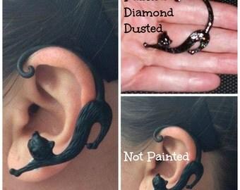 Black Cat Ear Cuff Goth Punk Rock Women's Unisex Pierced Left Ear Earring Painted Art Jewelry Black Cat Cuff Cat Wrap Earring Cuff Jewelry