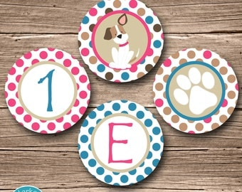 Pink Puppy Party Circles, Puppy Birthday Party Circles, Puppy Cupcake Topper, Puppy Party Circles Puppy Party Decor Dog Pink Blue Decoration