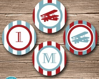 Airplane Party Circles, Airplane Birthday, Airplane Cupcake Toppers, Plane Party Circles Airplane Party Decor Red Blue Fire and Vintage