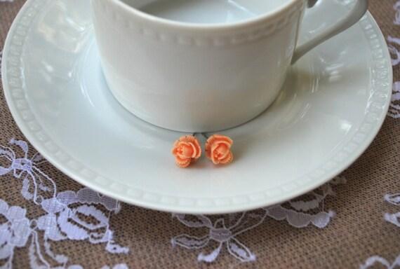 SALE Peach Flower Earrings - Peach Rose Earrings - Flower Earrings - Resin Flower Earrings-Peach Flower Stud Earrings-Peach Rosette Earrings