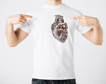 Creative T-Shirt Mechanical Heart Robot Tee Shirt