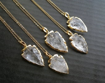 Quartz Arrowhead Necklace Arrowhead Jewelry Gold Dipped Quartz Clear Quartz Jewelry Tribal Necklace Tribal Jewelry Mineral Necklace Stone