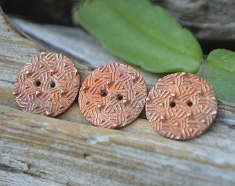 Woven- Handmade Copper Button Trio