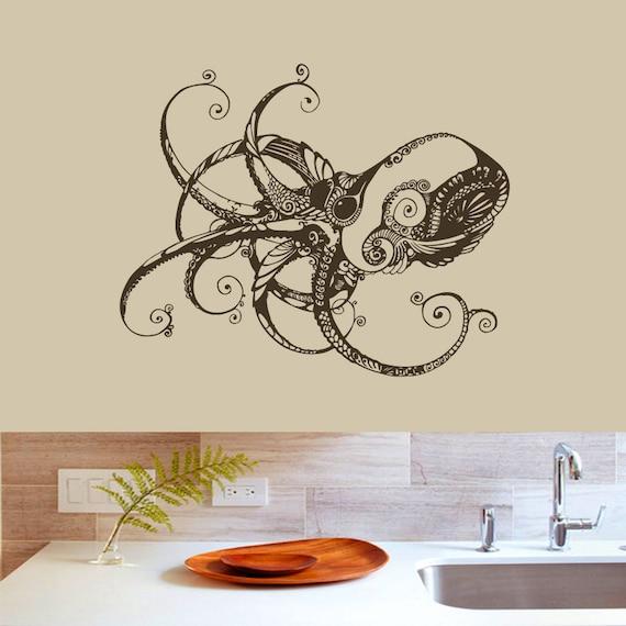 wall decals octopus decal vinyl sticker nursery bathroom home. Black Bedroom Furniture Sets. Home Design Ideas