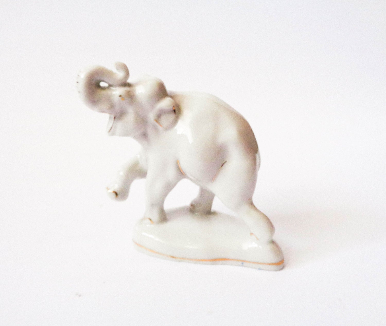 Porcelain White Elephant Figurine Soviet By Sovietmentality