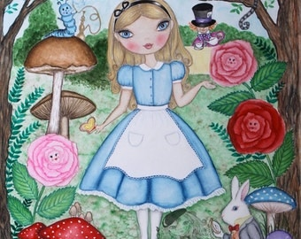 Alice in Wonderland painting. Gift for women her. Whimsical Alice watercolor Original Art. White rabbit, Cheshire cat art. Girls room art.