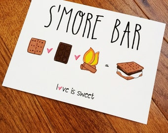 S'more Bar Sign, printed 5x7