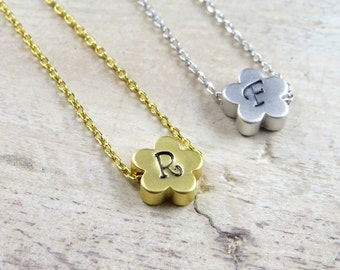 Personalized flower necklace, custom flower necklace, initial flower necklace, bridesmaid gift, flower necklace