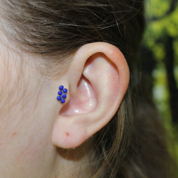 Silver 2mm Lapis Tragus Earring Stud 18 gauge - Nose Ring - Nose Stud - Cartilage Earring Stud - Helix Piercing - Helix Earring